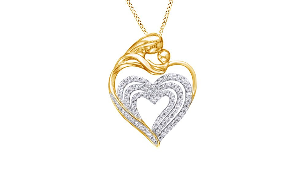 Natural Diamond Motherly Love Heart Pendant Necklace 14k Yellow Gold Over Sterling Silver