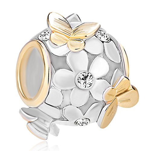 Pugster New 925 Sterling Silver Flower Butterfly Crystal Charm Bead (Misc Silver Charms)