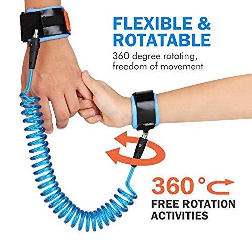 LifeKrafts Anti Lost Wrist Link, Blue 2 Meter for Baby & Kids Safety Wrist Link Toddler Safety...