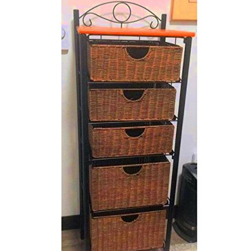 Tall Corner Storage Cabinet Shelves Elegant Unique Rustic Style Living Room Kitchen Bathroom Indoor Store Organizer & E book By Easy2Find (Bathroom Cabinets Wicker)