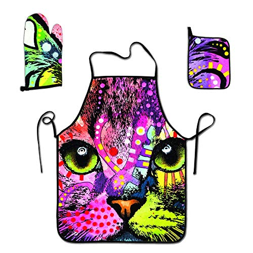 FEDDIY Personalized Adult Chef Set of Apron, Oven Mitt, Pot Holder - Louis Wain Wallpaper Floral Cat Wain-2