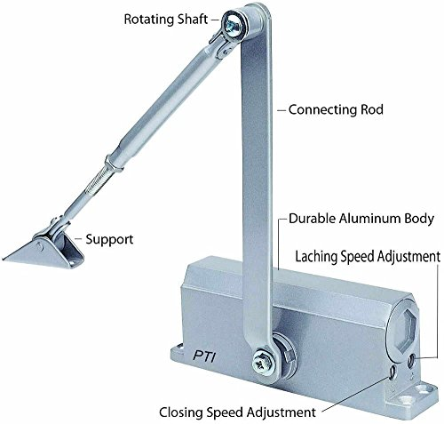 BEST SELLER Automatic Door Closer With Hydraulic Hinge - Slowly Closes and Shuts Door - Great Self Closing Door For Residential/Commercial Use by PTI