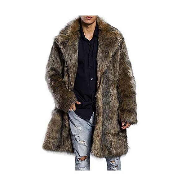 Manteau Long en Fausse Fourrure Homme,Overdose Mode Hiver Veste Parka Outwear Overcoat