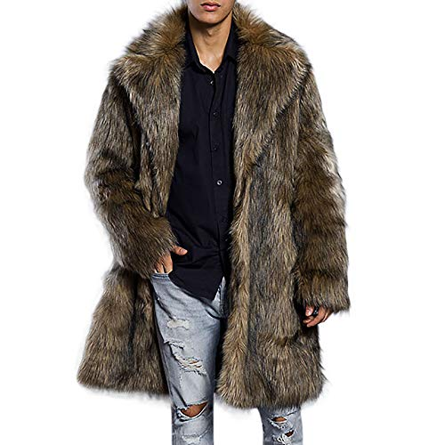 iLXHD Men's Faux Fur Trench Coat Jacket Parka Thicker Warm Outwear - Coat Trench Fur