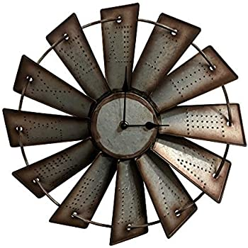 amazon metal windmill wall clock home kitchen Post and Beam House Kit gianna s home rustic farmhouse metal windmill wall clock 14 5