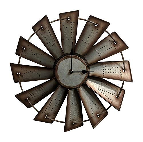 (Gianna's Home Rustic Farmhouse Metal Windmill Wall Clock (14.5