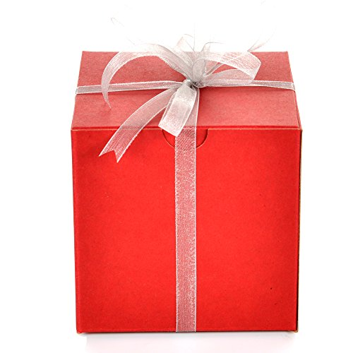 Ornament Gift Boxes - Set of 10 Red Gift Boxes (4x4x4