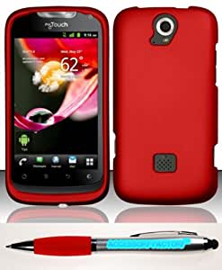 Accessory Factory(TM) Bundle (the item, 2in1 Stylus Point Pen) For Huawei myTouch Q U8730 (T-Mobile) Rubberized Case Cover Protector - Red