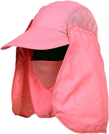 Ogquaton Sombrero de protecci/ón Solar Sombrero de protecci/ón UV Gorro de Escalada Impermeable Sombrero de Pesca para Caminatas Camping Caza Exterior Agr/ícola Trabajo Rosa