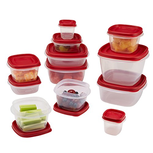 Food Storage Container Set with Lid, Red (Rubbermaid Stackable Storage)