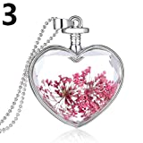 856store Novelty Fashion Women Dried Flower Glass Heart Love Locket Pendant Necklace Jewelry - Pink One Size