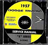 1957 DODGE K-SERIES TRUCK & PICKUP REPAIR SHOP & SERVICE MANUAL & BODY MANUAL CD INCUDES: panel, Power Wagon, 2WD, 4x4, 6x4, D100 through D900 series, forward control, conventional, P300-400, W300-W500, Bus, COE, C, S, and T Series 57