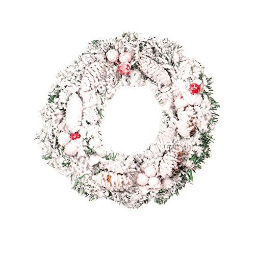 LiPing DIY Christmas Wreath Flocked Hanging Wreath Door Wall Garden Ornament Garland for Home Decor Wedding Flowers Accessories Wedding Deco (11.8in)