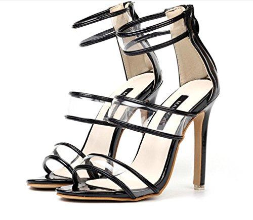 YCMDM cinturino alla caviglia donne pattini delle pompe aperte in punta trasparente sandali di plastica con tacco alto Passerella Incontri Party Shoes Shoes Charming delicato Scarpette , black , 37