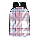 """Fashion personality practical Backpack Adult student 16.5""""H × 11.4""""W × 6.3""""T Checkered,Antique Clothing Pattern Design with Retro Display English Culture Decorative,Lilac Purple Light Blue"""