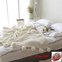 Pom Pom Knit Throw Blanket