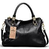 S-ZONE Women's Vintage Genuine Leather Tote Shoulder Bag Top-handle Crossbody Handbags Ladies' Purse (Black)