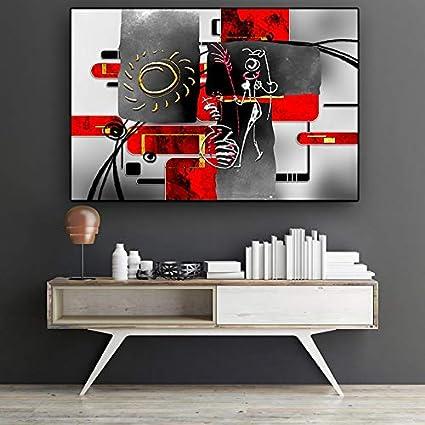 Geiqianjiumai Caracteres africanos Abstractos Negros Rojos Geométrico Pintura al óleo Carteles e Impresiones de la Lona Murales de la Sala Pintura sin Marco 60x90cm: Amazon.es: Hogar