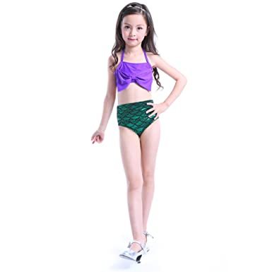 7197f037c93c Luerme 2pcs Little Girls Swimwear Kids Mermaid Tail Swimsuit Swimming  Costume Summer Beach Bikini Set (5-6 Years)  Amazon.co.uk  Clothing