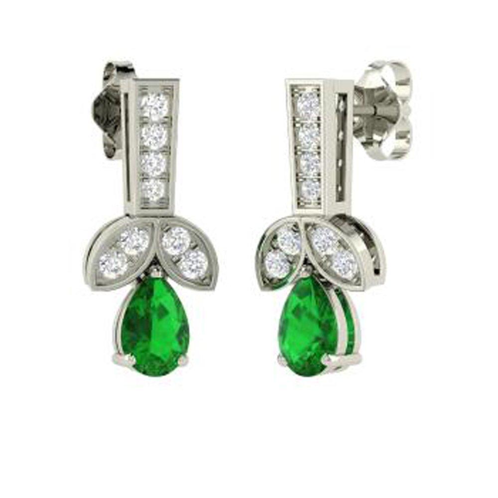 Dividiamonds Solid 14K Gold Plated 1.06Carat Pear /& Round Shape Green Emerald /& Sim Diamond Drop Earrings