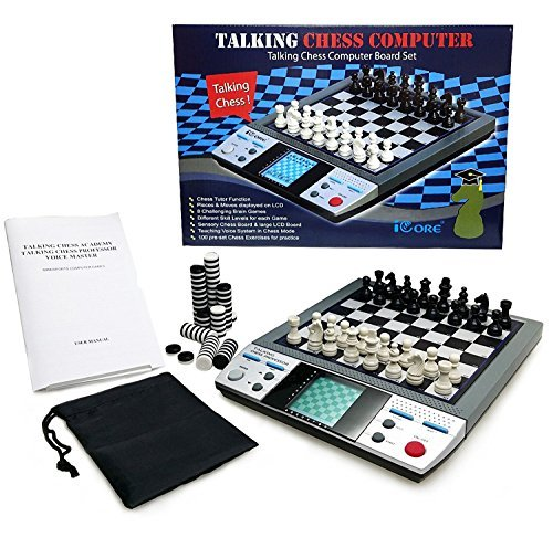 (ICORE Electronic Travel Magnetic Talking Chess Board Games 8 in 1, Portable Game Boards Computer Chess Set, Chessboard Checkers No Stress for Kids)