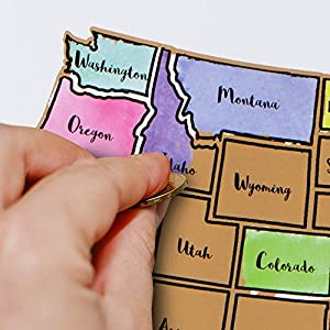 Amazoncom Oversized States US ScratchOff Map Heavyweight - Us travel tracking map
