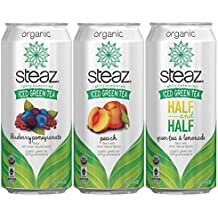 Steaz Organic VARIETY PACK Iced Green Tea 12/16 OZ