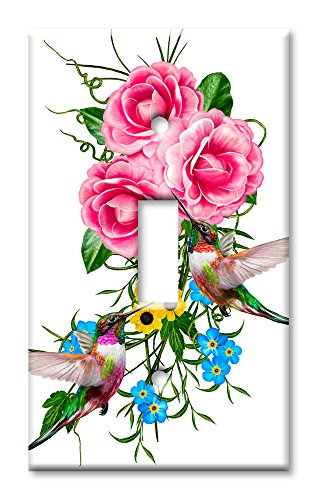 - Art Plates Brand Single Toggle Switch / Wall Plate - Hummingbirds In Flowers