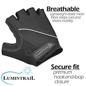 Lumintrail Shock Absorbing Half-Finger Riding Cycling Gloves Breathable Road Racing Bicycle Mens Womens (Black, Medium)