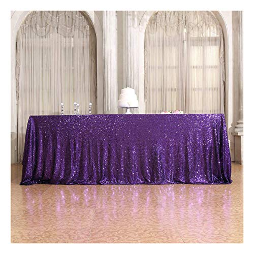 Poise3EHome 50×72'' Rectangle Sequin Tablecloth for Party Cake Dessert Table Exhibition Events, Purple]()