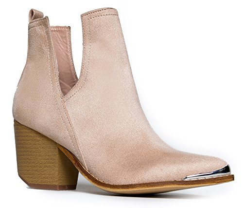 J. Adams Tess Western Bootie - Slip On V-Cut Out Metal Tipped Stacked Heel Boot Nude
