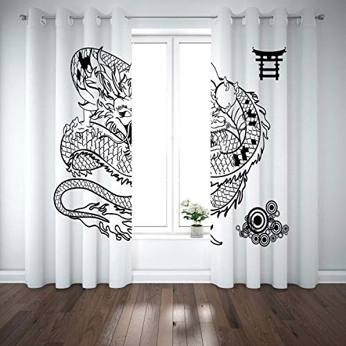 Yaoni Thermal Insulated Grommet Blackout Curtains,Japanese Dragon,Tattoo Art Style Mythological Dragon Figure Monochrome Reptile Design,Black White,2 Panel Drapes for Living Room,Bedroom - Free Japanese Dragon Tattoos