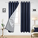 Cheap Deconovo Navy Blue Thermal Insulated Blackout Curtains Grommet Curtains with Silver Coating for Kids Bedroom 52 By 84 Inch Navy Blue 2 Panels