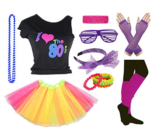 Girls I Love The 80's Disco T-Shirt for 1980s Theme Party Outfit (Yellow&Hot Pink, 14-16 Years)