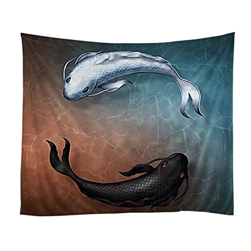Tapestry Asian Wall (Xinhuaya Yin Yang Decor Collection, Pair of Koi Fish Yin Yang Sign Concept Asian Zen Decoration Wildlife Art, Bedroom Living Room Dorm Wall Hanging Tapestry(51 W by 60