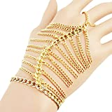 Gold Tone Dangling Hand Chain Harness Bracelet with Finger Ring Tassel Jewelry (Type 1)