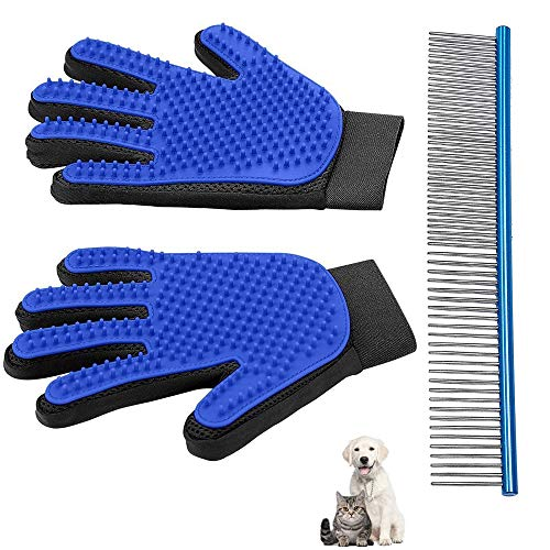 Yatoo Pet Grooming Glove Comb Brush Massage Tool Kit for Cats Dogs Long Short Fur Hair Remover Mitt Gentle Deshedding Removes Tangles Knots Loose Fur and Dirt Contains 2 Gloves and 1 Comb (Blue)