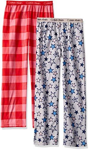 Calvin Klein Girls' Little Kids Super Soft Brushed Microfleece Pajama Pant, 2 Pack, Pink Red Buffalo Plaid, Lunar Stars, X-Large