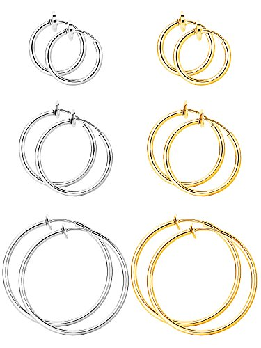 BBTO 6 Pairs Fake Earrings Hoop Non-pierced Nose Ring Spring Hoop Earrings Lip Ear Clip Body Jewelry, Multi-sized, Steel and Gold