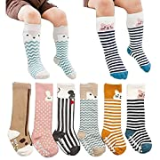 [6 Pairs] Toddler Socks, Non Skid Knee High Cotton Socks for Baby Boys & Girls(S(0-2 Years))
