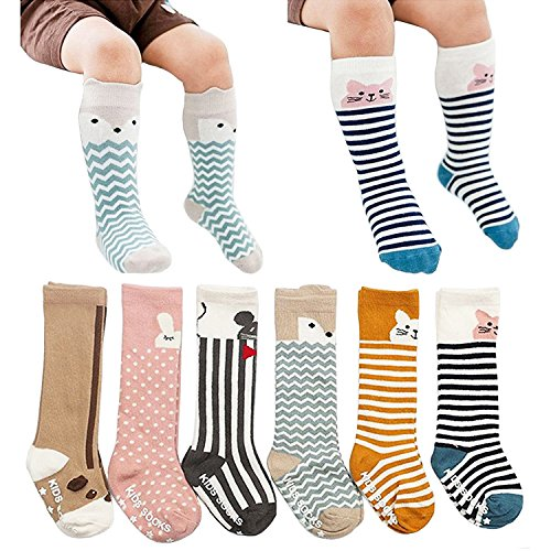6 Pairs Toddler Socks, Non Skid Knee High Cotton Socks for Baby Boys & Girls
