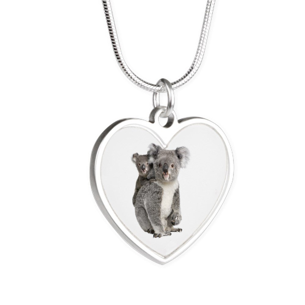 Royal Lion Silver Heart Necklace Koala Bear Mother and Baby