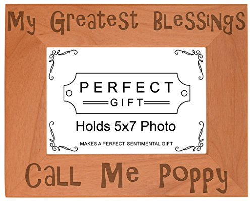 ThisWear Blessings Call Me Poppy Natural Wood Engraved 5x7 Landscape Picture Frame Wood