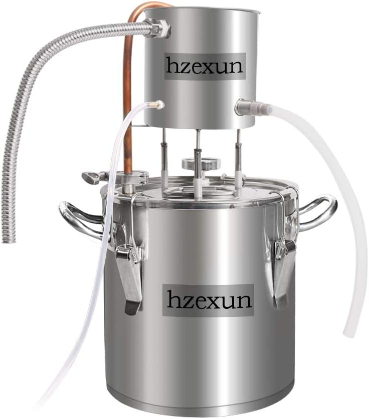 hzexun Alambique para Destilación Casera -recipientes, Serpentín - para La Destilación De Alcohol, Vino, Aceites Esenciales (3Gal/12L)