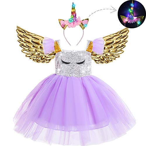 Beauta Unicorn Costume Cosplay Princess Dress up Birthday Pageant Party Dance Outfits Evening Gowns  (2-3 Years(Tag 100), Purple)