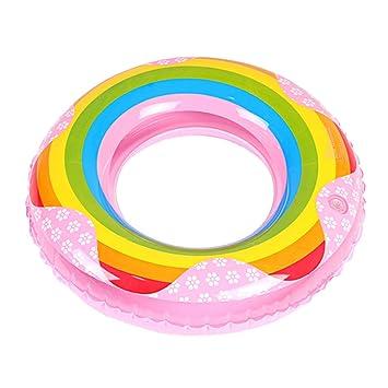 STOBOK Juguete Inflable de la Piscina del Verano del Anillo del Flotador del Arco Iris del Anillo de la Nadada de la Piscina (los 70cm): Amazon.es: Juguetes ...