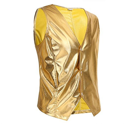 (YiZYiF Men's Shiny Metallic PVC Leather Old School Black Costume Vest Top Gold)