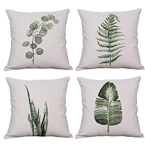 YeeJu Set of 4 Throw Pillow Covers Decorative Green Fern Leaf Cushion Covers Square Cotton Linen Outdoor Couch Sofa Home Pillow Covers 18x18 Inch - Green Square Cushion Pillow