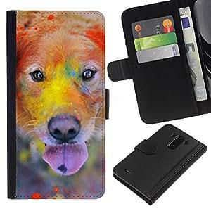 Rainbow Holi Paint Golden Retriever Dog - la tarjeta de Crédito Slots PU Funda de cuero Monedero caso cubierta de piel LG G3