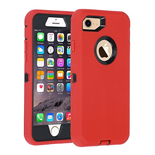 iPhone 7/8 case, [Heavy Duty] Armor 3 in 1 Built-in Screen Protector Rugged Cover Dust-Proof Shockproof Drop-Proof Scratch-Resistant Tough Shell for Apple iPhone 7 4.7 inch(Red)